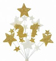 Number age 21st birthday cake topper decoration in gold and white - free postage